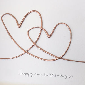 'Happy Anniversary' Hearts , Box Frame Personalised Art (Rose Gold) www.withcerys.co.uk Unique 3D Wall Art Gifts