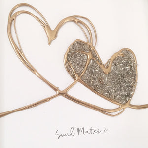 'Soul Mates' Love Hearts, 3D Box Frame Personalised Art (Gold) www.withcerys.co.uk