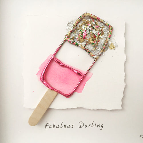 'Fabulous Darling' Fab Ice Lolly, Box Frame Personalised Art www.withcerys.co.uk Unique 3D Wall Art Gifts