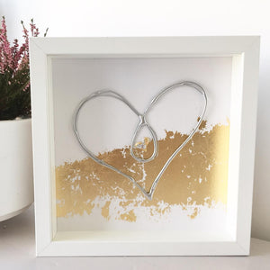 'Unbreakable Bond' Heart, Box Frame Personalised Art (Silver) www.withcerys.co.uk Unique 3D Wall Art Gifts