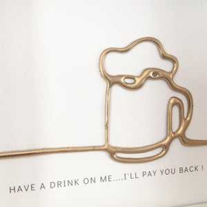 'Have a drink on me' Cheers, 3D Box Frame Personalised Art (Gold) www.withcerys.co.uk Unique Wall Art Gifts