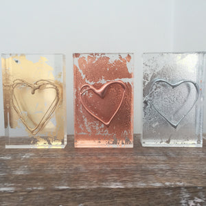 'My Heart' Small Acrylic Keepsake (Gold, Rose Gold & Silver) www.withcerys.co.uk Unique 3D Gifts Of Art