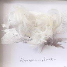 Load image into Gallery viewer, 'Always in my heart' 3D Box Frame Personalised Feather Art (Silver & Swarovski crystals) www.withcerys.co.uk Personalised Wall Art Gifts