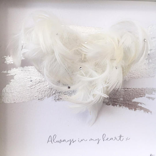 'Always in my heart' 3D Box Frame Personalised Feather Art (Silver & Swarovski crystals) www.withcerys.co.uk Personalised Wall Art Gifts