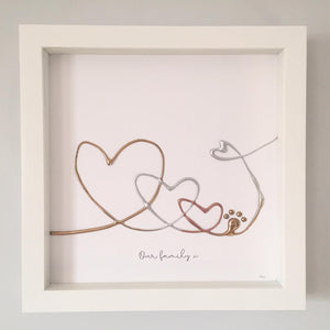 'Our family' Guardian Angel Family Portrait, 3D Box Frame Personalised Art (Gold, Rose Gold & Silver) www.withcerys.co.uk