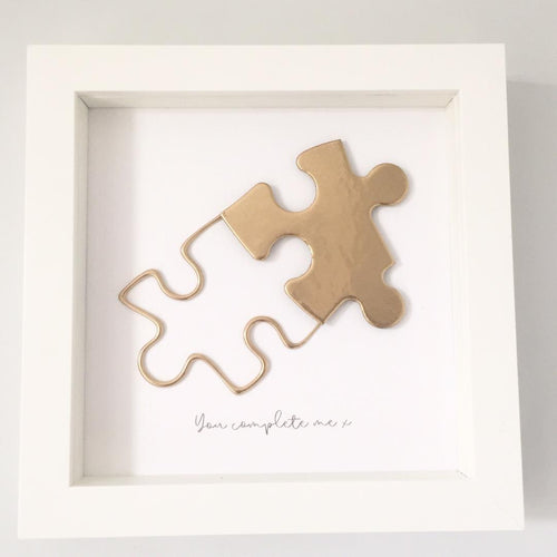 'You complete me' Puzzle, Box Frame Personalised Art (Gold) www.withcerys.co.uk Unique 3D Wall Art Gifts