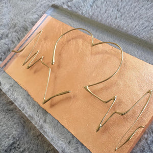 ECG Heatbeat Wave, A5 Clear Acrylic Block. Gold on Rose Gold. www.withcerys.co.uk
