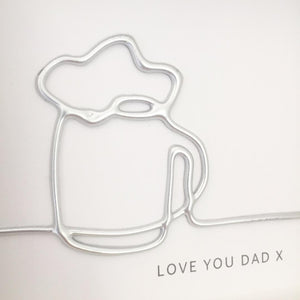 'Love you Dad' Cheers, 3D Box Frame Personalised Art (Silver) www.withcerys.co.uk Unique Wall Art Gifts