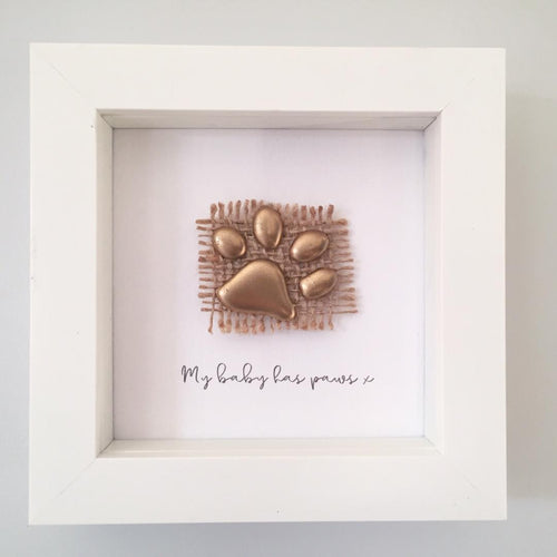 'My baby has paws' Paws, 3D Box Frame Personalised Art (Gold) www.withcerys.co.uk Unique Gifts Of Art