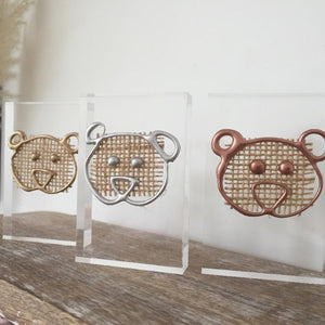 Metallic 'Three Little Bears' Small Acrylic Keepsake (Gold, Rose Gold, Silver) www.withcerys.co.uk Personalised Wall Art Gifts