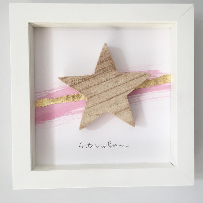 'A star is born' Natural Star, Box Frame Personalised Art (Pink & Gold) www.withcerys.co.uk Unique 3D Wall Art Gifts