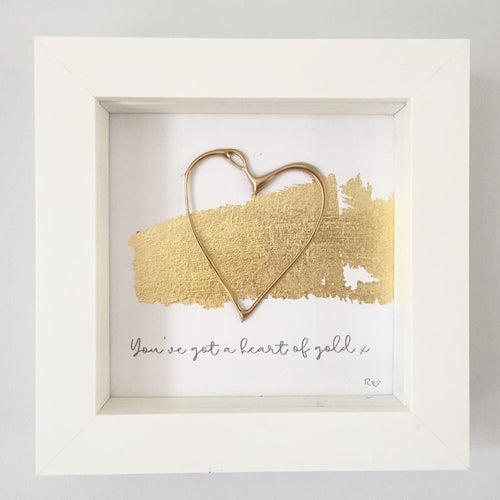 'You've a heart of gold' Heart, 3D Box Frame Personalised Print (Gold) www.withcerys.co.uk