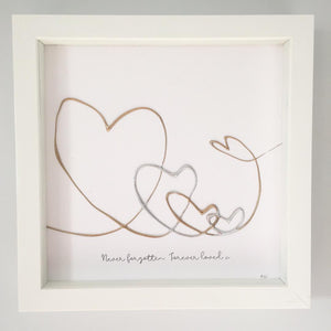 'Never forgotten. Forever loved' Guardian Angel Family Portrait, 3D Box Frame Personalised Art (Gold, Rose Gold & Silver) www.withcerys.co.uk