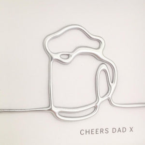 'Cheers Dad' Pint of beer, 3D Box Frame Personalised Art (Silver) www.withcerys.co.uk Unique Wall Art Gifts