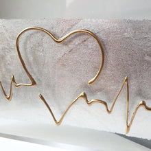 Load image into Gallery viewer, ECG Heatbeat Wave, A5 Clear Acrylic Block. Gold on Silver. www.withcerys.co.uk