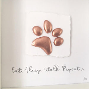 'Eat. Sleep. Walk. Repeat' Paws, 3D Box Frame Personalised Art (Rose Gold) www.withcerys.co.uk Unique Gifts Of Art
