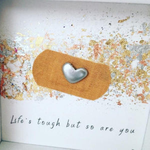 'Life's tough but so are you' Positive Plaster, Box Frame Personalised Art (Silver) www.withcerys.co.uk Unique 3D Gifts Of Art