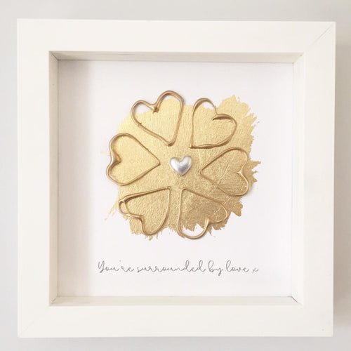 'You're surrounded by love' Sunflower, Box Frame Personalised Art (Gold) www.withcerys.co.uk Unique 3D Wall Art Gifts