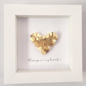 'Always in my heart' Tiny Hearts, Personalised Box Frame (Gold Leaf & Swarovski Crystals) www.withcerys.co.uk Unique 3D Gifts Of Art