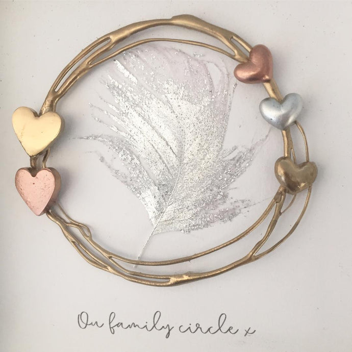 Family Gold Circle / Heart Wall Art Gift. www.withcerys.co.uk