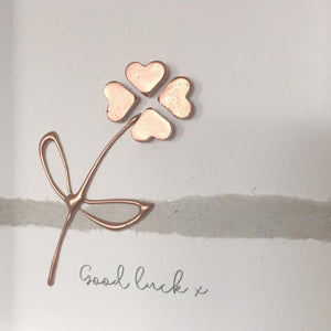 'Good luck' Four Leaf Clover, Lucky Charm, 3D Box Frame Personalised Art (Rose Gold) www.withcerys.co.uk