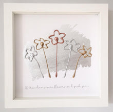 Load image into Gallery viewer, 'If Grandma's were flowers we'd pick you' Flowers, 3D Box Frame Personalised Art (Gold, Rose Gold & Silver) www.withcerys.co.uk