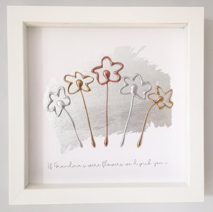 'If Grandma's were flowers we'd pick you' Flowers, 3D Box Frame Personalised Art (Gold, Rose Gold & Silver) www.withcerys.co.uk