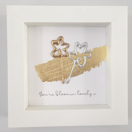 'You're bloomin lovely' Flowers 3D Box Frame Personalised Print (Gold & Silver) www.withcerys.co.uk Unique Wall Art Gifts