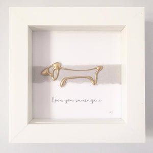 'Love you sausage' Dog, Box Frame Personalised Art (Gold) www.withcerys.co.uk Unique Wall Art Gifts