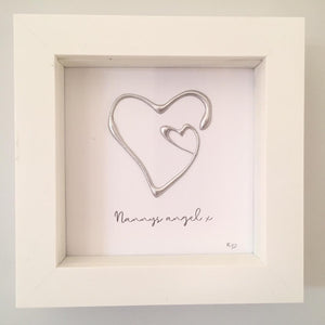 'Nanny's angel' Heart 3D Box Frame Personalised Art (Silver) www.withcerys.co.uk Wall Art Gifts