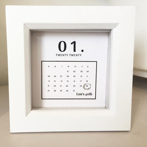 Special Day Calendar Box Frame Personalised Word Art (Silver)  www.withcerys.co.uk Unique 3D Wall Art Gifts