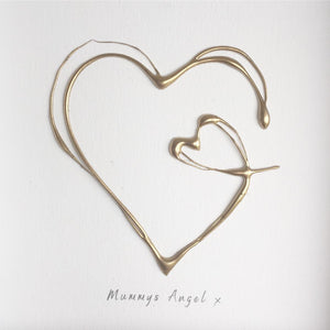 'Mummy's angel' Heart 3D Box Frame Personalised Art (Gold) www.withcerys.co.uk Wall Art Gifts