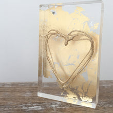 Load image into Gallery viewer, 'My Heart' Small Acrylic Keepsake (Gold) www.withcerys.co.uk Unique 3D Gifts Of Art