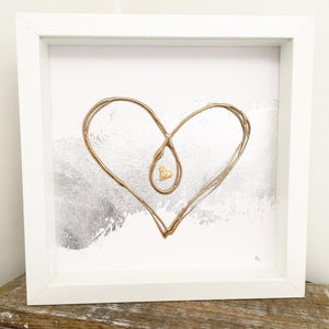 'Unbreakable Bond' Heart, Box Frame Personalised Art (Gold) www.withcerys.co.uk Unique 3D Wall Art Gifts