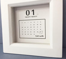 Load image into Gallery viewer, Special Day Calendar Box Frame Personalised Word Art (Silver)  www.withcerys.co.uk Unique 3D Wall Art Gifts
