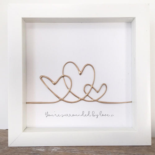 'You're surrounded by love' Hearts , Box Frame Personalised Art (Gold) www.withcerys.co.uk Unique 3D Wall Art Gifts