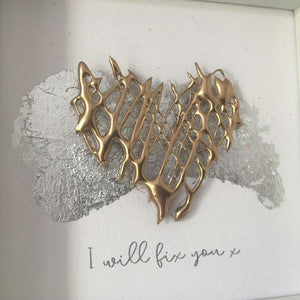 'I will fix you' Healing Heart, 3D Box Frame Personalised Print (Gold) www.withcerys.co.uk