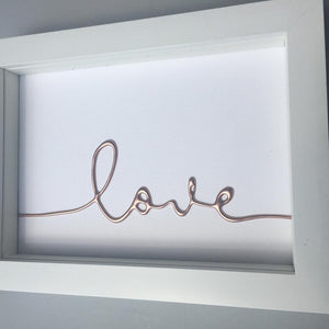 Love Rose Gold Small Framed Art withcerys