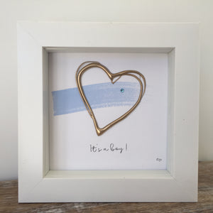 'It's a boy' New Baby, 3D Box Frame Personalised Art (Blue & Gold)