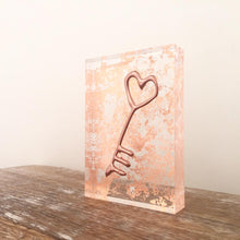 Load image into Gallery viewer, 'Key' Small Acrylic Keepsake (Rose Gold)www.withcerys.co.uk Unique gifts of art