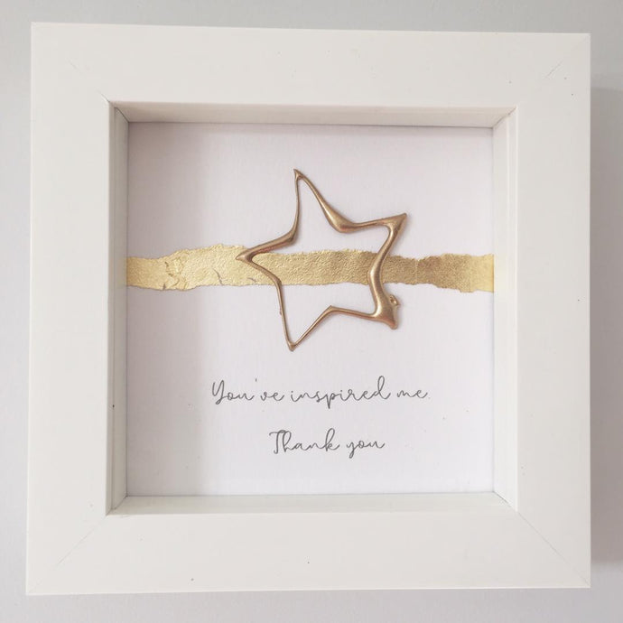 'You've inspired me. Thank you' Superstar, Box Frame Personalised Art (Gold) www.withcerys.co.uk Unique 3D Wall Art Gifts