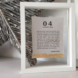 Song Lyric Floating Frame Personalised Word Art (Gold) www.withcerys.co.uk Unique Wall Art Gifts