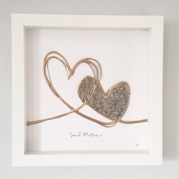 withcerys 'Soul Mates' Love Hearts, 3D Box Frame Personalised Art (Gold) www.withcerys.co.uk