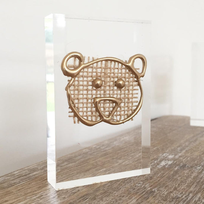 'Baby Bear' Small Acrylic Keepsake (Gold) www.withcerys.co.uk Personalised Wall Art Gifts