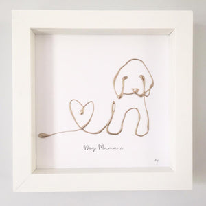 'Dog Mama' Dog Portrait, Box Frame Personalised Art (Gold) www.withcerys.co.uk Unique 3D Wall Art Gifts