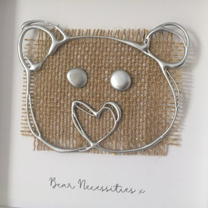 'Bear Necessities' 3D Box Frame Personalised Print (Silver) www.withcerys.co.uk Personalised Wall Art Gifts