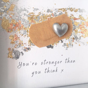 'You're stronger than you think' Positive Plaster, 3D Box Frame Personalised Art (Silver) www.withcerys.co.uk Unique Gifts Of Art