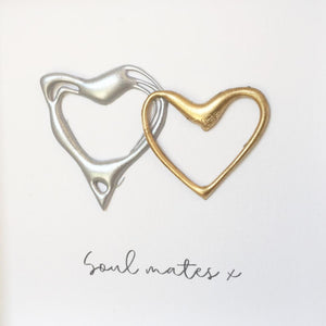 'Soul Mates' Hearts (Silver & Gold) Box Framed Wall Art Gift. www.withcerys.co.uk