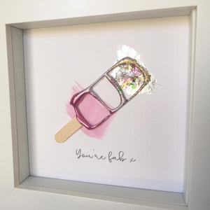 'You're fab' Fab Ice Lolly, Box Frame Personalised Art www.withcerys.co.uk Unique 3D Wall Art Gifts