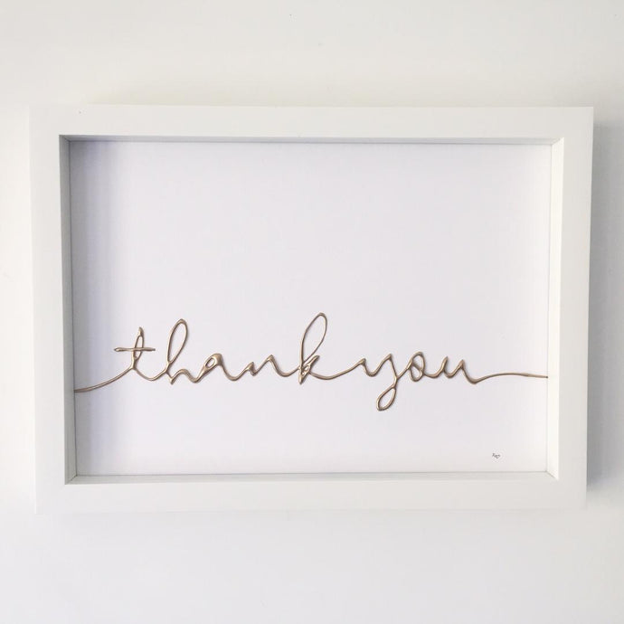 'thank you' Box Frame Personalised Word Art (Gold)  www.withcerys.co.uk Unique 3D Wall Art Gifts